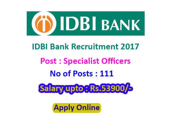 IDBI recruitment 2017