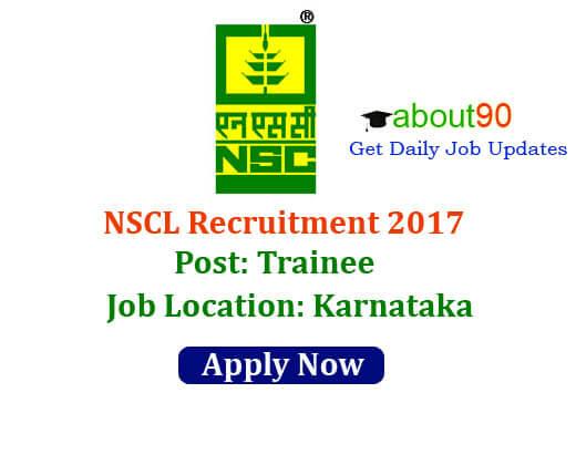 NSCL Karnataka Recruitment 2017