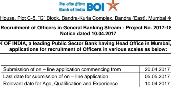 BOI Recruitment 2017
