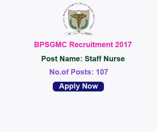 BPSGMC Recruitment 2017