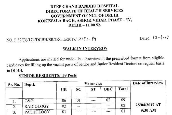 Deep Chand Bandhu Hospital Recruitment
