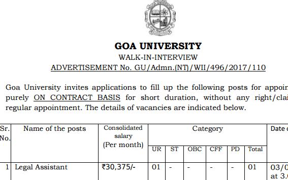 Goa University Recruitment 2017