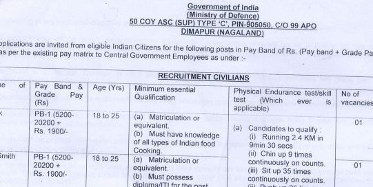 50 Coy ASC Dimapur Recruitment