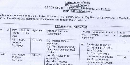 50 Coy ASC Dimapur Recruitment