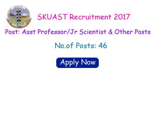 SKUAST Recruitment 2017