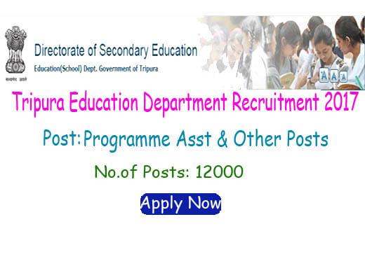 Tripura Education Department Recruitment