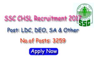 SSC CHSL Recruitment 2017