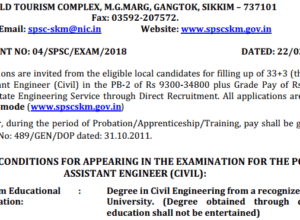 SPSC Sikkim AE Recruitment 2018