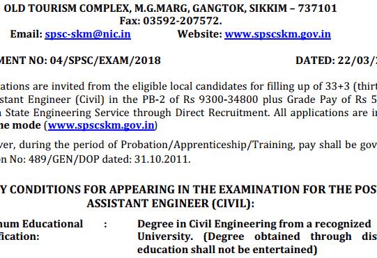 SPSC Sikkim AE Recruitment 2018