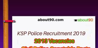 KSP Civil Police Constable Notification 2019